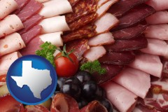 texas map icon and a deli platter
